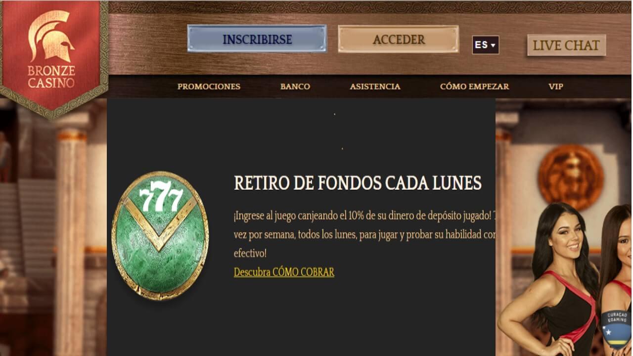 Lunes de reembolso por 10% Bronze Casino