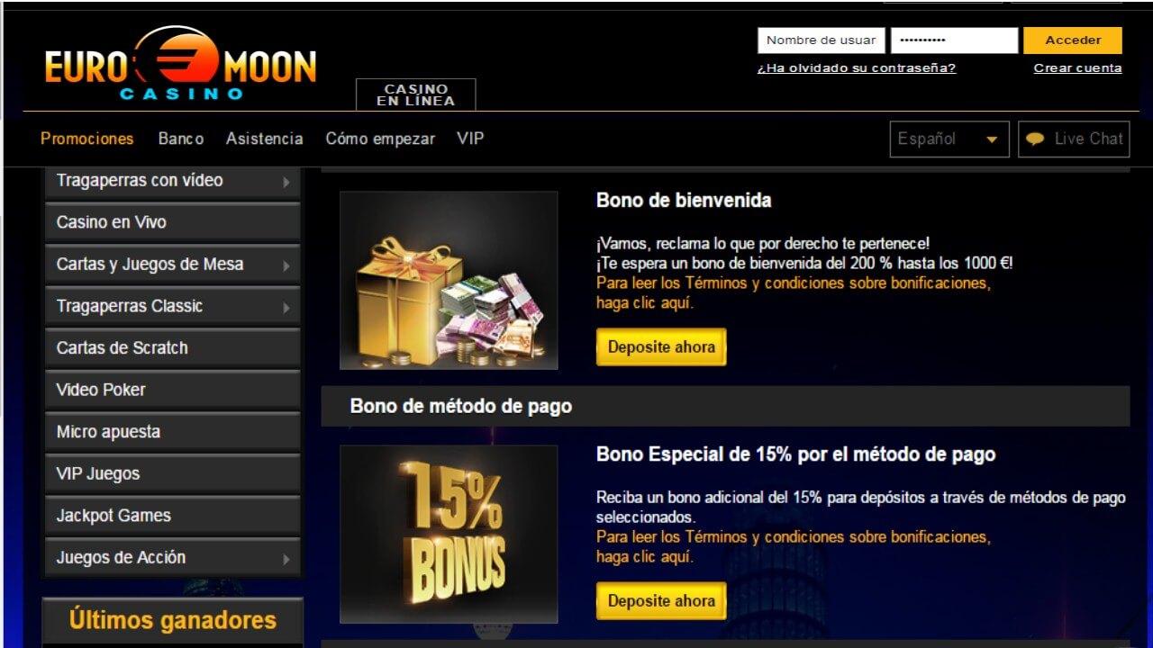 Bonificación 15% Casino Euromoon