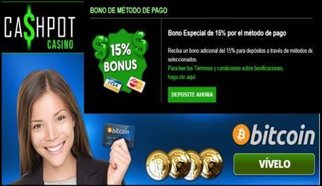 Casino Cashpot 15% promocional por método de ingreso