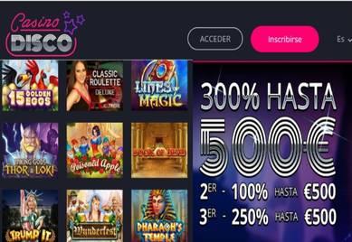 Bono de bienvenida de 500 euros Casino Disco