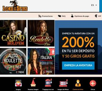 Hasta 2000 euros por primer depósito Casino Lord of Spins