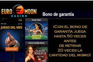Casino Euromoon bono de garantía juega hasta 50 veces
