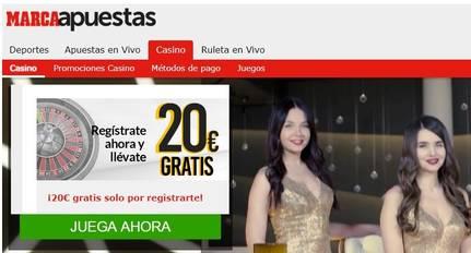 20 euros por registrarse en Marca Apuestas
